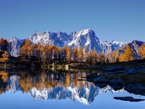 wallpaper mont blanc autumn lake white mountain alps