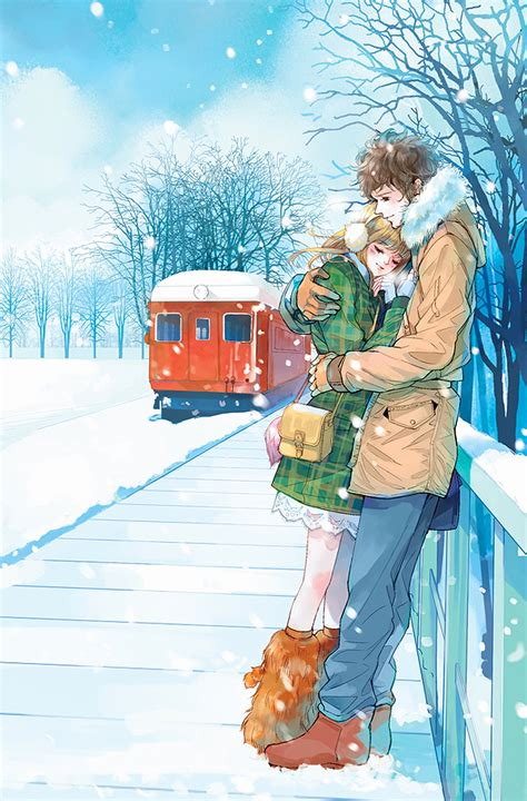 red train anime couple snow romantic love tree