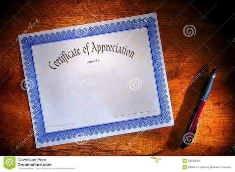 certificate  appreciation blank document  desk stock
