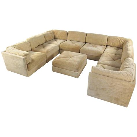 large selig sectional sofa with ottoman mid century