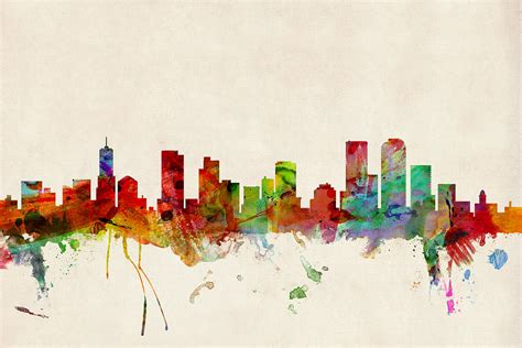 denver colorado skyline digital art by michael tompsett