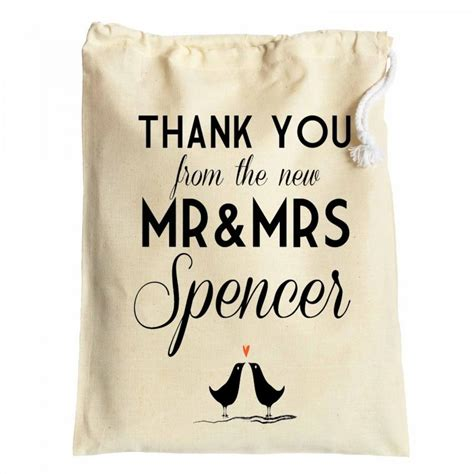 thank you note wedding gift bag wedding favour thank you cotton drawstring gift bags newly