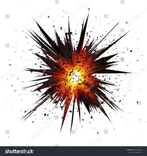 Black Isolated Star Explosion With Particles On White ... Explosion White Background