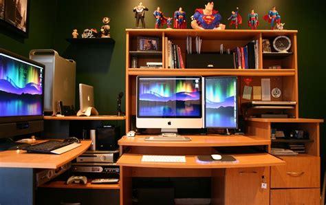 cool home office setups ultimate mac superman collection home office setup