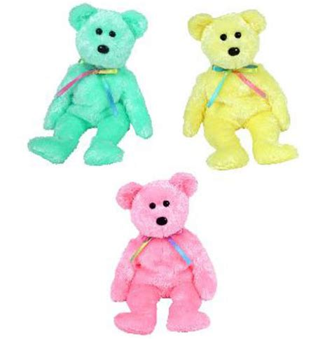Set Overall Baby Bears ty beanie babies sherbet bears set of 3 yellow pink