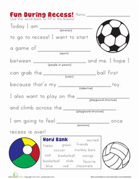 Kindergarten Sentence Building Worksheets by Recess Story Worksheet Education