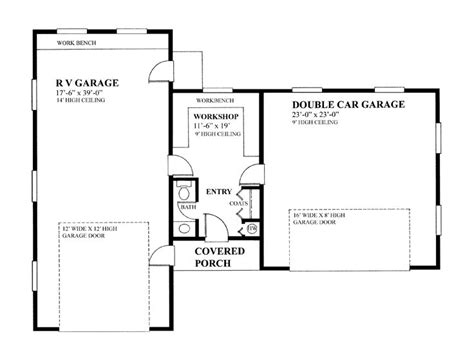 garage floor plans with workshop rv garage plans rv garage plan with 2 car garage and