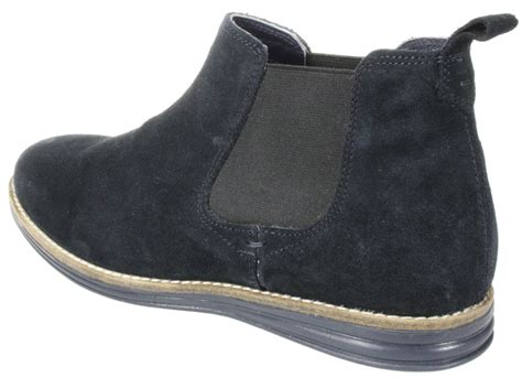 mens navy pull on leather suede chelsea desert