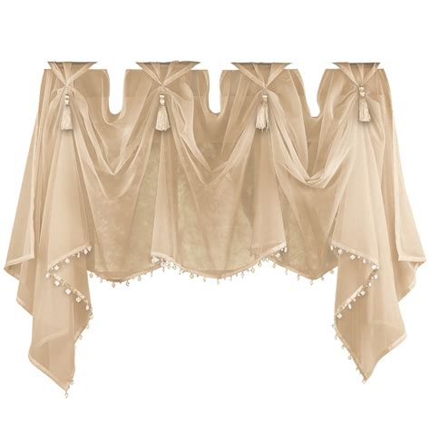 sheer curtains with valance tassel sheer scoop valance curtains by collections etc