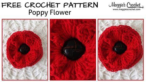 pattern to crochet a poppy button poppy free crochet pattern right handed youtube