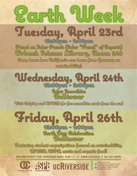 week events inside ucr ucr to celebrate earth week 2013 with