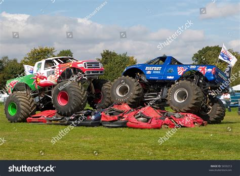 monster trucks show uk two 4x4 monster trucks at uk car show stock photo 5659213