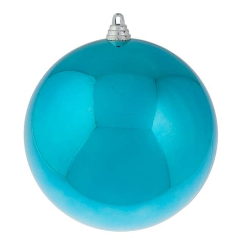light turquoise baubles shiny shatterproof single 200mm