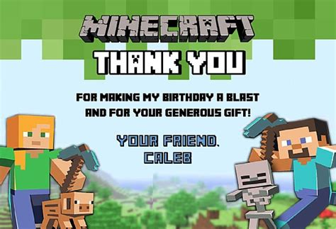 Minecraft Thank You Card Template by Minecraft Thank You Cards Personalized