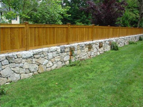 westchester granite fieldstone retaining wall with cedar wall fence home garden pinterest