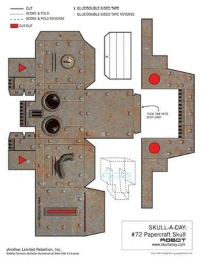 Paper Craft Robot - template for a papercraft robot skull papercraft