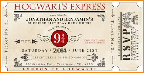 nice harry potter ticket invitation template bagvania