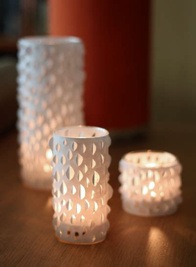 How To Make A Paper Candle Holder - diy cut paper candle holders how about orange