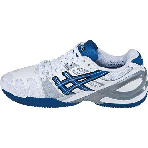 asics gel resolution 5 clay s tennis shoes white blue