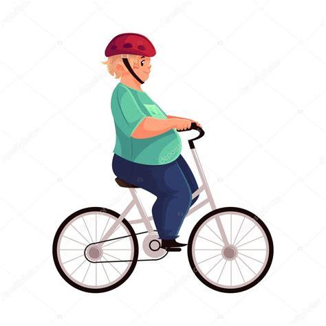 usar imagenes vectoriales gordito ciclismo montar en bicicleta usar casco