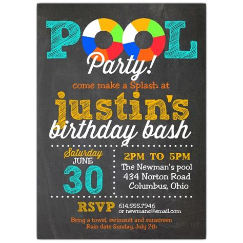 Pool Party Chalk Invitations Paperstyle