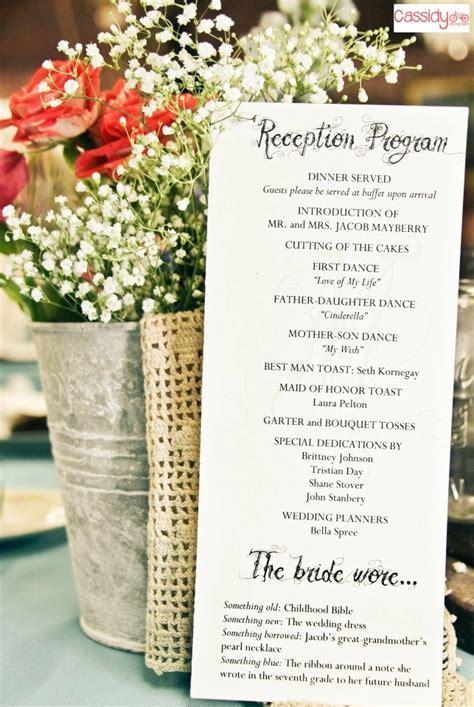 Reception Wedding Program by Reception Program With Decorations I Had My
