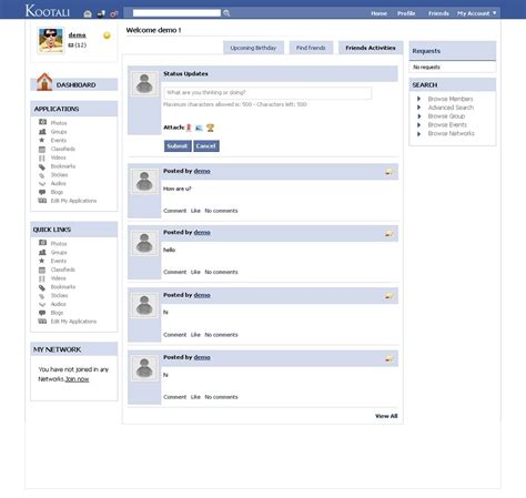 html themes like facebook facebook light template for kootali
