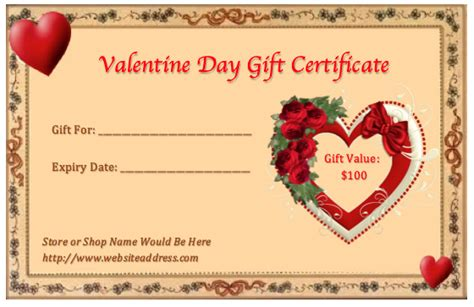 28 valentine gift certificate template free gift