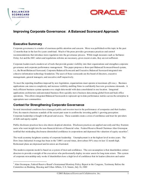 Mba Corporate Governance Notes by Corporate Governance A Balanced Scorecard Approach With