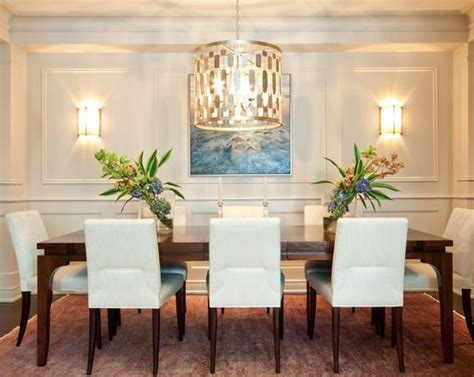 clean transitional dining room chandelier wall