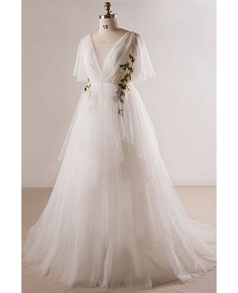 Outdoor Wedding Dresses For Flower by Plus Size Flowing Tulle Flowers Wedding Dress