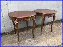 lovely pair  french antique side tables  bronze