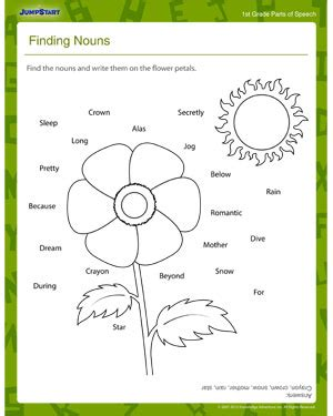 1st Grade Grammar Worksheets by Finding Nouns Free 1st Grade Grammar Worksheet For