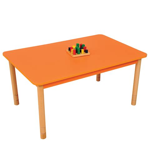 Height adjustable beechwood rectangle table orange profile education