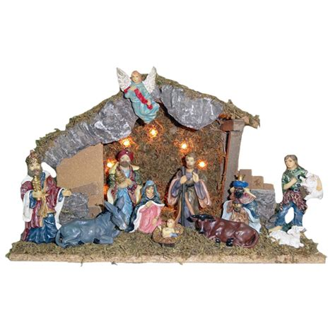kurt adler wooden stable with 11 resin figures lighted