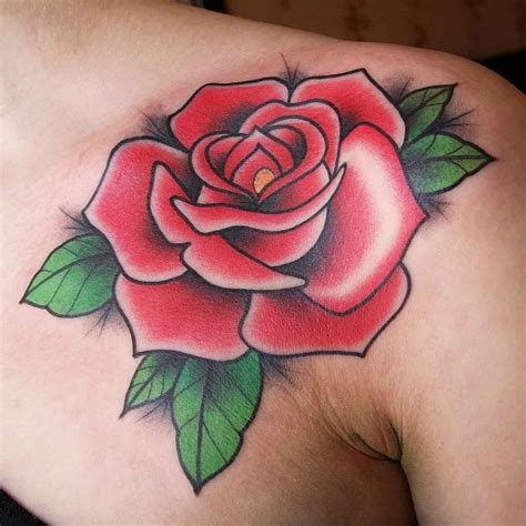 new school rose tattoo new school front shoulder best ideas