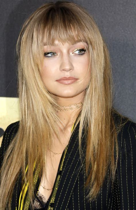 gigi hadid hairstyles gigi hadid bangs hairstyle mtv movie awards 2016