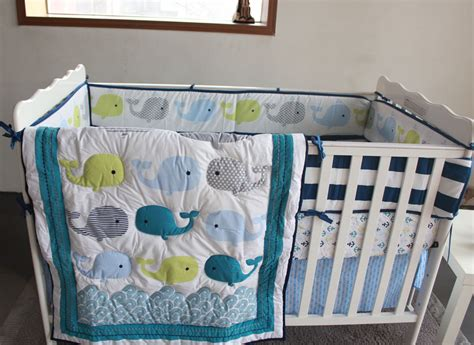 Baby Boy Bedding Sets Whales 7pc Nursery Crib Bedding Set Newborn Baby Boy Cot Bedding Set Applique Quilt Bumpers