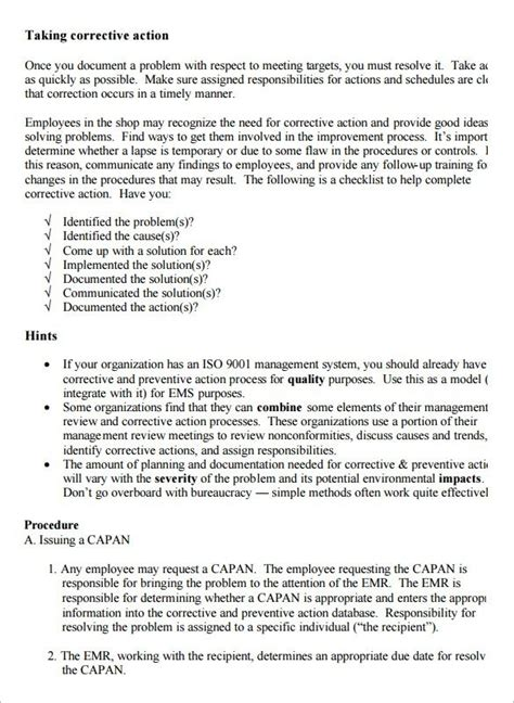 corrective report template corrective report template business template