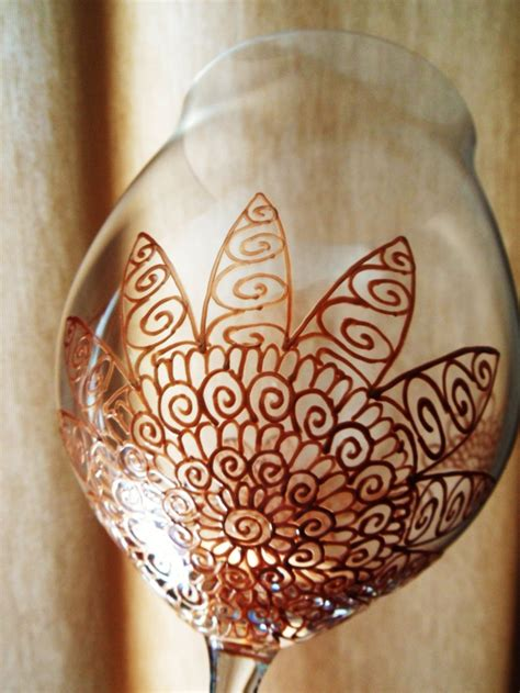 henna design on glass wine glasses custom designed in henna designs with