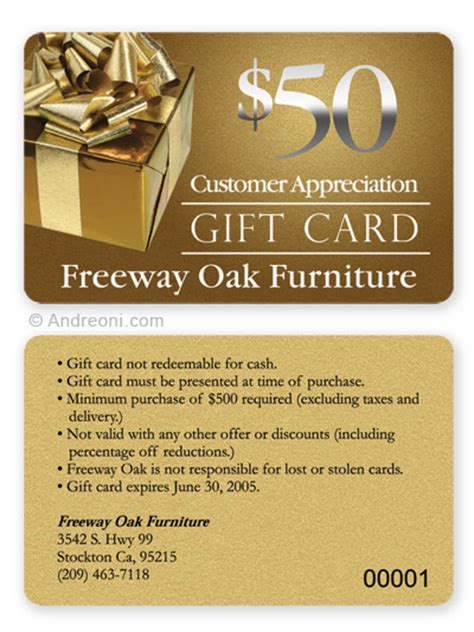 Gift Card Exles - plastic gift card design sle freeway oak furniture