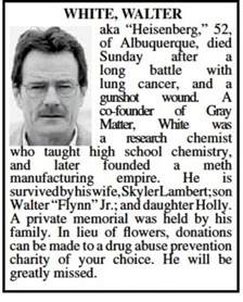 obituary section breaking bad walter white obituary shows up in