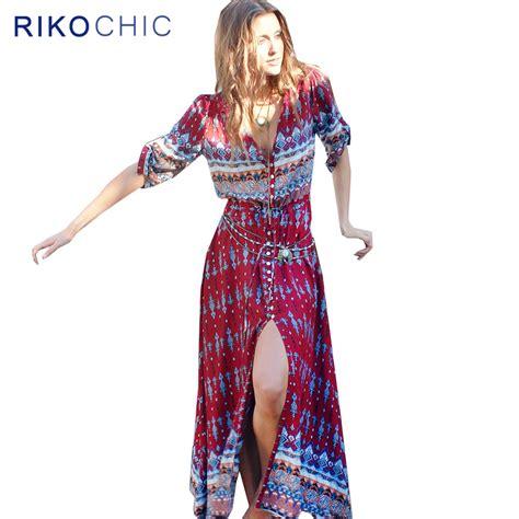 Front Ethnic Maxi bohemian style ethnic print dress plus size front buttons vintage boho maxi