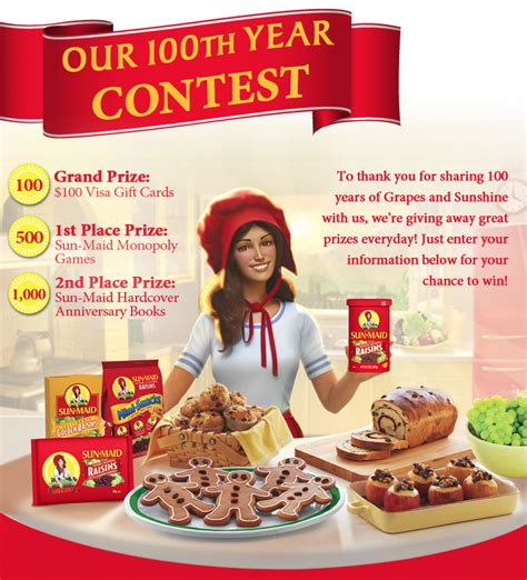 Contest Girl Sweepstakes - sun maid girl 100th year contest free 4 seniors