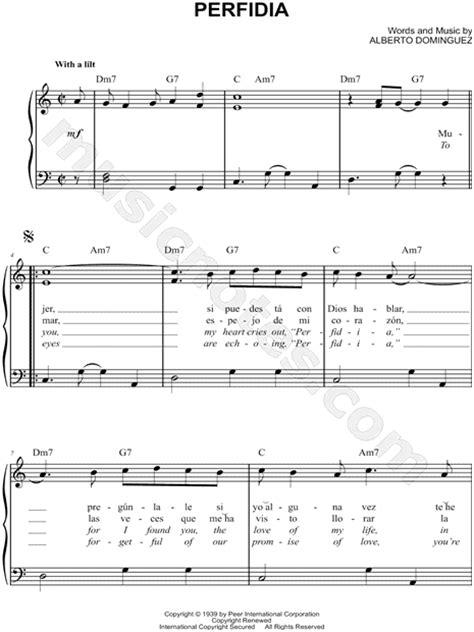 "Alberto Dominguez ""Perfidia"" Sheet Music (Easy Piano) in C"