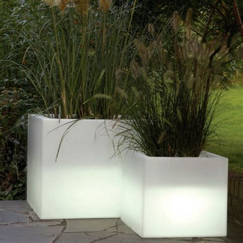 Planters Outdoor by Serralunga Cubotti Illuminated Outdoor Planter Lighted