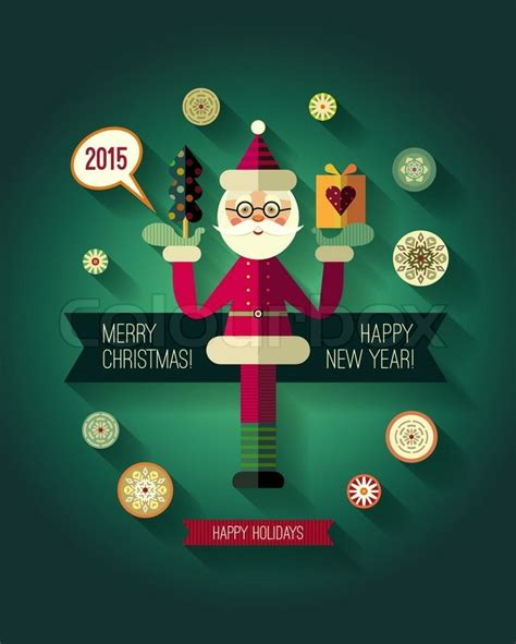 flat design concepts  merry christmas  happy  year cards flat santa claus icon trendy