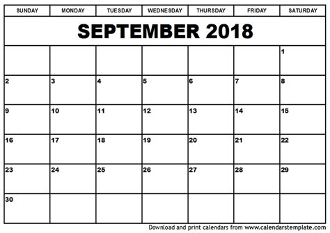 printable calendar 2018 september september 2018 calendar template
