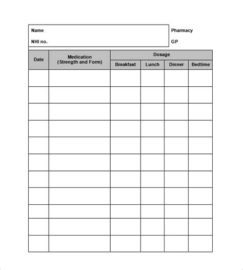 medicine list template medication log template free chlain