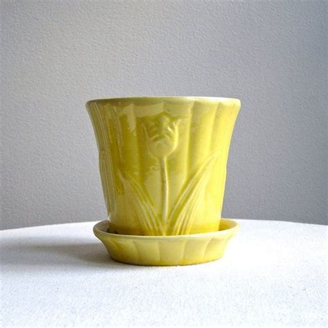 yellow pattern planter vintage american pottery flower pot with tulip design